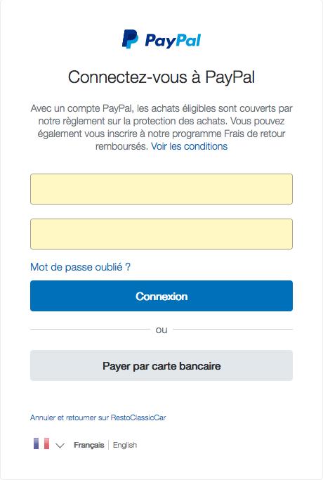 Fenêtre Paypal
