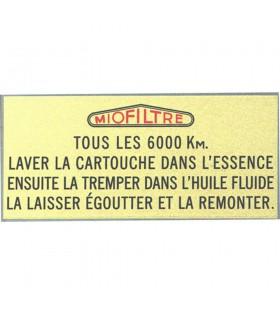 Adhésif de filtre à air Miofiltre Citroën Traction avant
